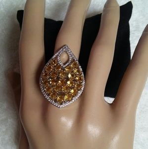 SS Yellow Amber colored stones Ring size 7.5